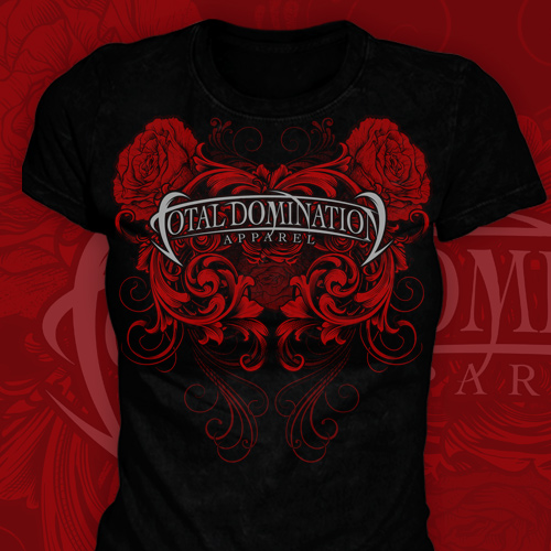 Total Domination T-Shirt Roses on Black